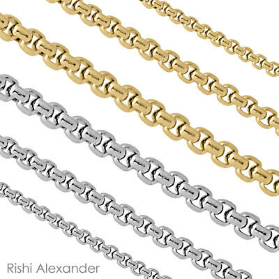 Stainless Steel Men's Rolo Round Box 316L Chain Necklace in Silver or Gold