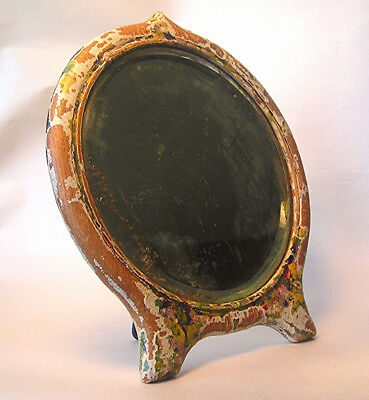 An Antique Beveled Glass Mirror in Distressed Painted Wood Frame Z27