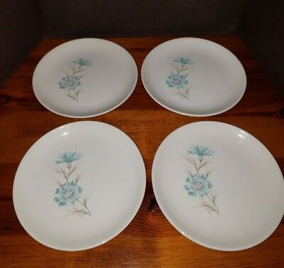 """4 Taylor Smith Taylor Ever Yours BOUTONNIERE Bread Plate Blue Flower 6 3/4"""""""