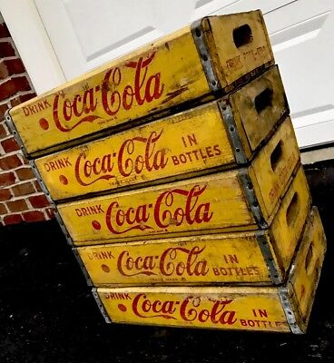 5 Vintage 1960's Yellow Coca Cola Coke Wood Soda Pop Crates Lot
