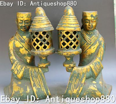 """12"""" Old China Bronze Gilt Ancient Words People Man Servant Oil Lamp Statue Pair"""