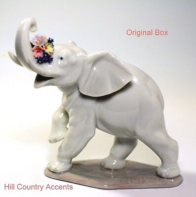 Lladro Lucky's Call - #6461 - New - Elephant With Trunk Up - Flowers - Nib