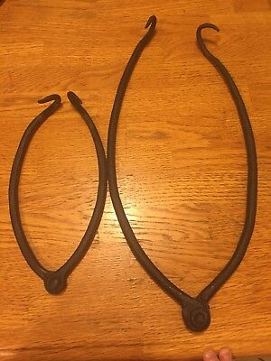 Pair of Old Hand Forged Iron Small & Large Pot Holders *Cabin Lodge Decor*