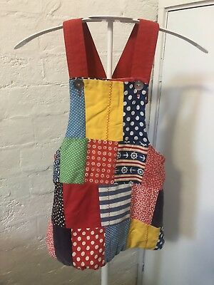 Patchwork Vintage Girls Size 2-3 Pinafore Dress EUC Red Green Blue Yellow