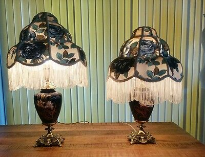 Vtg Victorian Hand painted Lamps w matching Damask Tassel Shades GUC READ ALL