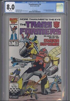 Transformers #19 CGC 8.0 1986 Marvel (First Omega supreme) Comic: New Frame