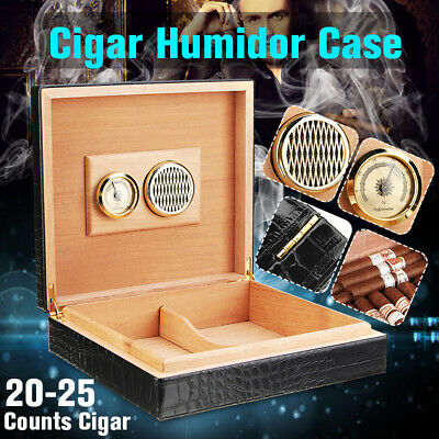 Leather Cedar Wood Lined Cigar Humidor Humidifier W/Hygrometer Case Box Men Gift