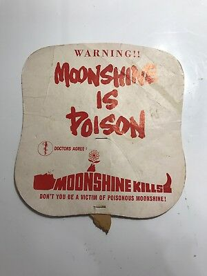 Vintage IRS Moonshine Is Poison/Federal Gun Laws (ATF) Cardboard Hand Fan  Rare