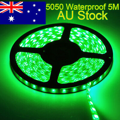5M Flexible Bright LED Strip Lights 12V Waterproof 5050 SMD Green 300 LEDs Local