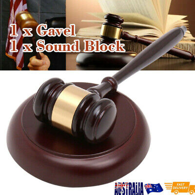 Wooden Handcrafted Hammer Wood Gavel Sound Block for Lawyer Judge Auction Sale