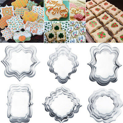 4PCS Stainless Steel Cookie Cutter Mold Plaque Frame Fondant Cake Baking Molds