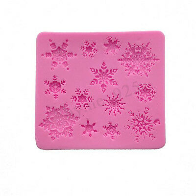 3D DIY Christmas Snowflake Silicone Fondant Cake Mold Soap Mould Clay Chocolate