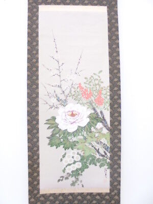 3877586: Japanese Wall Hanging Scroll / Hand Painted / Peony & Ume Blossom /