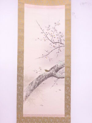 3878334: Japanese Wall Hanging Scroll / Hand Painted / Ume & Nightingale
