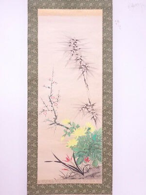 3877800: Japanese Wall Hanging Scroll / Hand Painted / Four Noble Plants