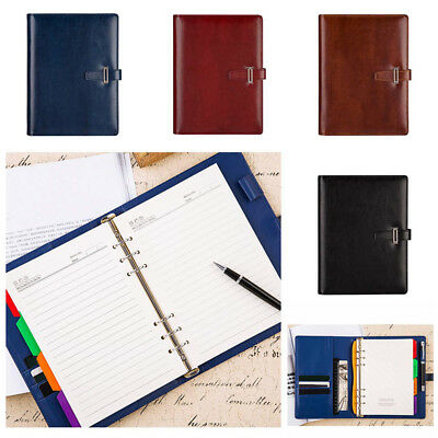 100Sheets A5 PU Leather Loose Leaf Notebook Organizer Business Planner Calendar