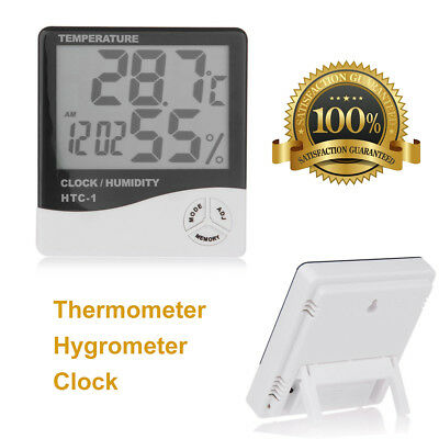 LCD Digital Thermometer Hygrometer Humidity Meter Temp Home Indoor Clock Alarm