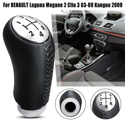 5 Speed PU Leather Gear Knob Shift For Renault Laguna Megane 2 Clio 3 Kangoo 09