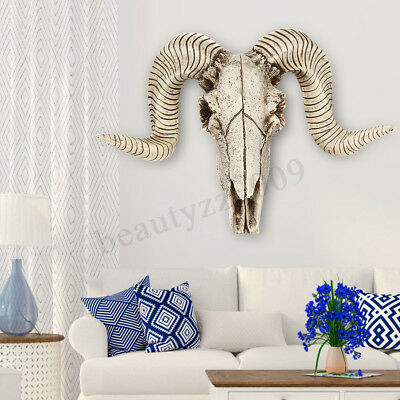 Skull Sheep Head Realistic Animal Resin Wall Art Sculpture Wall Hanging Decor
