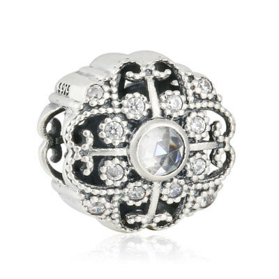 Originale Charm Argento S925 charm Floral Openwork Charm AAA CZ Bead