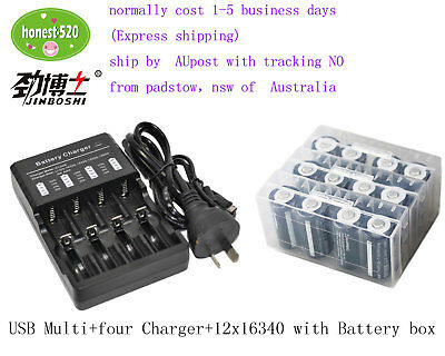 12x16340 CR123A 3.7V Rechargeable Li-ion LED Torch Battery+1X 4-Channel Charger