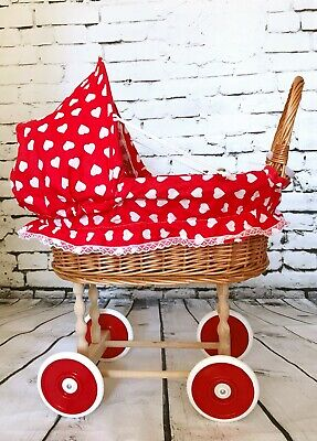 Vintage Style Wicker Rattan Doll Pram In Heart Pattern With Accessories