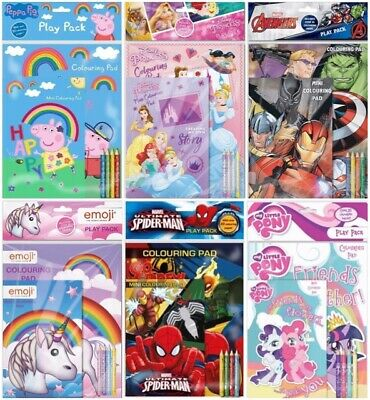 Childrens Character Activity Play Pack Colouring Books & Colours Gift Party Bag