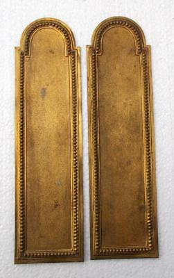2 Vintage French Brass Door Push Plates Finger Plates #R3