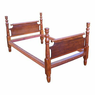 Antique Primitive Solid Wood Rolling Pin Full Double Rope Poster Bed Early 1800s