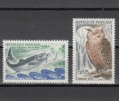 France, Scott cat. 1338-1339. Nature Protection issue. Fish & Owl shown