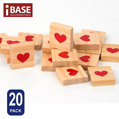20x Wooden Alphabet Scrabble Tiles Scrapbooking Complete Handcraft Red Heart