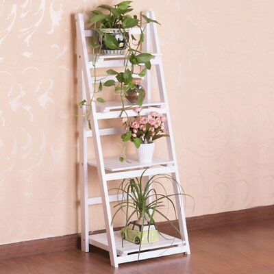 Wooden 3 & 4 Tier Ladder Folding Book Shelf Stand Plant Flower Decro Display UK