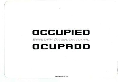 BRANIFF International Airlines Seat Occupied Ocupado Sign 1967