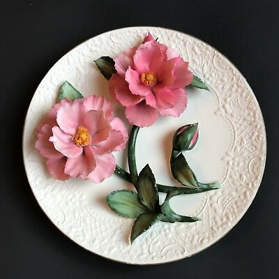 Franklin Mint Limited Edition The Pink Roses Of Capodimonte 3D Plate 6053