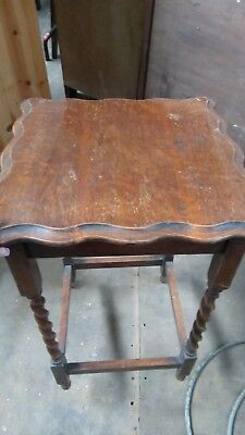 Old Antique Tall Oak Side / End / Occasional Table with Barley Twist Legs