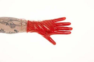 Red HEAVYWEIGHT Latex Rubber Cat Suit Wrist Gloves Extra Large 2nd BIN