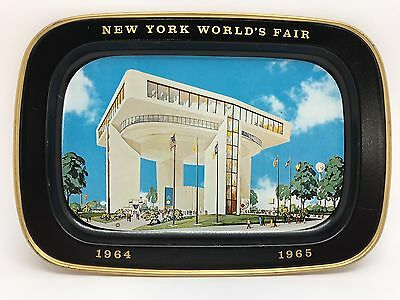 New York NY World's Fair 1964 1965 Heliport Steel Tin Souvenir Tray (RF689)