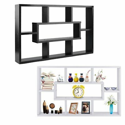 Stylish Space Saving Floating Wall Shelves Display Bookshelf Storage 8 Unit