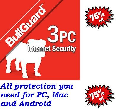 Genuine Bullguard Internet Security 2019 License 1 Year 3 user,PC, Mac, Android