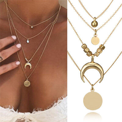 Women Multilayer Choker Horn Long Crescent Moon Pendant Necklace Jewelry Chain