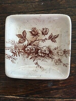 Brown Aesthetic Transferware Butter Pat Antique English Staffordshire
