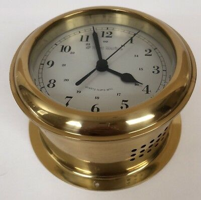Vintage WEST MARINE Ocean Quartz SHIP's Bell Brass Clock Germany USA