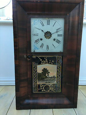 1870's Antique American 'newhaven'  30Hr Og Wall Clock Good Working Order
