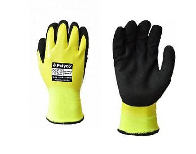 POLYCO Grip It Oil Therm Water Oil Proof Warm Winter Lined Thermal Work Gloves