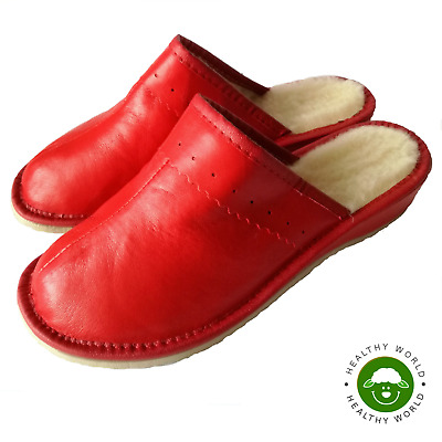 Women's Ladies Shoes Slippers REAL LEATHER & SHEEP WOOL, Genuine CALFSKIN, Red