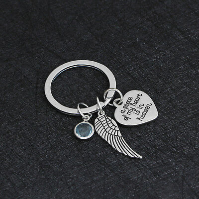 My Heart Lives In Heaven' Engraved Keyring Women Men Fashion Jewelry Gift 8C