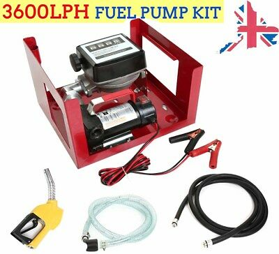 12V Wall Mounted Diesel Transfer 3600LPH Fuel Pump Kit - With Fuel Meter 2018 UK