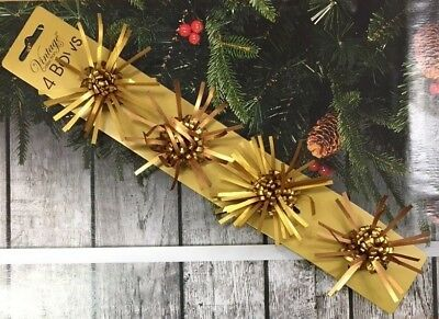 Clearance Lot Of 576 (144 Packs of 4) 2 Tone Gold Christmas Present Parcel Bows