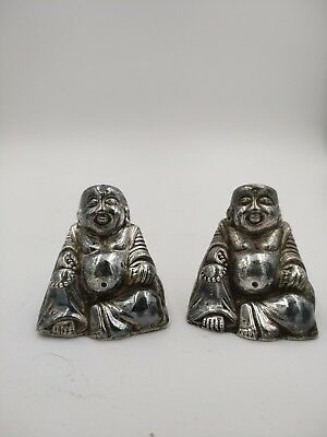 pr Sterling Silver figural BUDDHA Salt & Pepper Shakers  Chinese Japanese 1940's