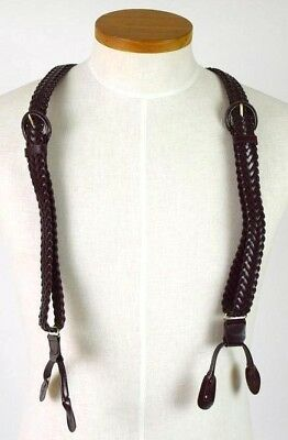 Vintage 80s Brown Woven Leather Suspenders Braces Braided Retro